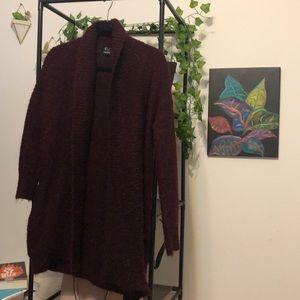 Burgundy cardigan that is Long sleeve